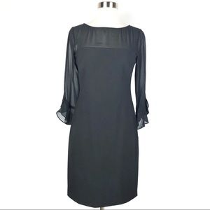 KARL LAGERFELD shift dress black sheer sleeves